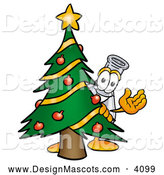 Stock Mascot Cartoon of a Erlenmeyer Conical Laboratory Flask Beaker Mascot Cartoon Character Waving and Standing by a Decorated Green Christmas Tree by Toons4Biz