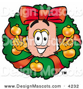 Stock Mascot Cartoon of a Festive Bandaid Bandage Mascot Cartoon Character in the Center of a Christmas Wreath by Toons4Biz
