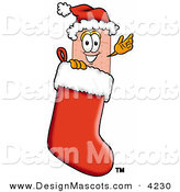 Stock Mascot Cartoon of a Festive Bandaid Bandage Mascot Cartoon Character Wearing a Santa Hat Inside a Red Christmas Stocking by Toons4Biz