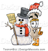 Stock Mascot Cartoon of a Festive Bone Mascot Cartoon Character with a Snowman on Christmas by Toons4Biz