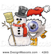 Stock Mascot Cartoon of a Festive Eyeball Mascot Cartoon Character with a Snowman on Christmas by Toons4Biz