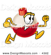 Stock Mascot Cartoon of a Fishing Bobber Mascot Cartoon Character Running FastFishing Bobber Mascot Cartoon Character Running Fast by Toons4Biz