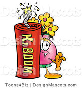 Stock Mascot Cartoon of a Flower Mascot and Dynamite by Toons4Biz