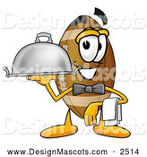 Stock Mascot Cartoon of a Football Mascot Waiter Holding a Serving Platter by Toons4Biz