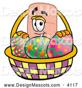 Stock Mascot Cartoon of a Friendly Bandaid Bandage Mascot Cartoon Character in an Easter Basket Full of Decorated Easter Eggs by Toons4Biz