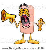 Stock Mascot Cartoon of a Friendly Bandaid Bandage Mascot Cartoon Character Screaming into a Megaphone by Toons4Biz