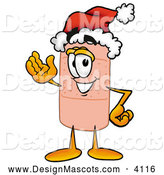 Stock Mascot Cartoon of a Friendly Bandaid Bandage Mascot Cartoon Character Wearing a Santa Hat and Waving by Toons4Biz