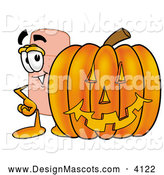 Stock Mascot Cartoon of a Friendly Bandaid Bandage Mascot Cartoon Character with a Carved Halloween Pumpkin by Toons4Biz