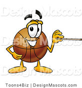 Stock Mascot Cartoon of a Friendly Basketball Mascot Cartoon Character Holding a Pointer Stick by Toons4Biz