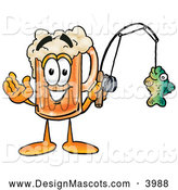 Stock Mascot Cartoon of a Friendly Beer Mug Mascot Cartoon Character Holding a Fish on a Fishing Pole by Toons4Biz