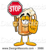 Stock Mascot Cartoon of a Friendly Beer Mug Mascot Cartoon Character Holding a Stop Sign by Toons4Biz