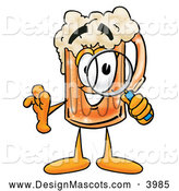 Stock Mascot Cartoon of a Friendly Beer Mug Mascot Cartoon Character Looking Through a Magnifying Glass by Toons4Biz