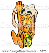 Stock Mascot Cartoon of a Friendly Beer Mug Mascot Cartoon Character Plugging His Nose While Jumping into Water by Toons4Biz