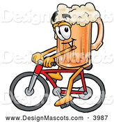 Stock Mascot Cartoon of a Friendly Beer Mug Mascot Cartoon Character Riding a Bicycle by Toons4Biz