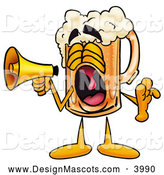 Stock Mascot Cartoon of a Friendly Beer Mug Mascot Cartoon Character Screaming into a Megaphone by Toons4Biz