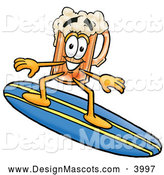 Stock Mascot Cartoon of a Friendly Beer Mug Mascot Cartoon Character Surfing on a Blue and Yellow Surfboard by Toons4Biz