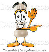 Stock Mascot Cartoon of a Friendly Bone Mascot Cartoon Character Waving and Pointing by Toons4Biz