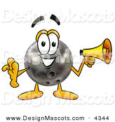 Stock Mascot Cartoon of a Friendly Bowling Ball Mascot Cartoon Character Holding a Megaphone by Toons4Biz