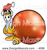 Stock Mascot Cartoon of a Friendly Erlenmeyer Conical Laboratory Flask Beaker Mascot Cartoon Character Wearing a Santa Hat, Standing with a Christmas Bauble by Toons4Biz