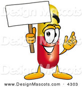 Stock Mascot Cartoon of a Friendly Medicine Pill Capsule Mascot Cartoon Character Holding a Blank Sign by Toons4Biz