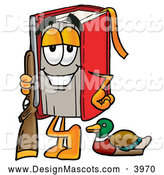 Stock Mascot Cartoon of a Friendly Red Book Mascot Cartoon Character Duck Hunting, Standing with a Rifle and Duck by Toons4Biz