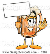Stock Mascot Cartoon of a Frothy Beer Mug Mascot Cartoon Character Holding a Blank Sign by Toons4Biz
