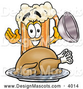 Stock Mascot Cartoon of a Frothy Beer Mug Mascot Cartoon Character Serving a Thanksgiving Turkey on a Platter by Toons4Biz