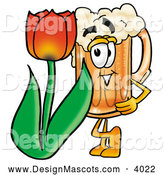 Stock Mascot Cartoon of a Frothy Beer Mug Mascot Cartoon Character with a Red Tulip Flower in the Spring by Toons4Biz