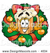 Stock Mascot Cartoon of a Frothy Beer Within a Christmas Wreath by Toons4Biz