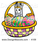 Stock Mascot Cartoon of a Glass Erlenmeyer Conical Laboratory Flask Beaker Mascot Cartoon Character in an Easter Basket Full of Decorated Easter Eggs by Toons4Biz