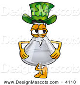 Stock Mascot Cartoon of a Glass Erlenmeyer Conical Laboratory Flask Beaker Mascot Cartoon Character Wearing a Saint Patricks Day Hat with a Clover on It by Toons4Biz