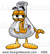 Stock Mascot Cartoon of a Glass Erlenmeyer Conical Laboratory Flask Beaker Mascot Cartoon Character Whispering and Gossiping by Toons4Biz