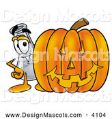 Stock Mascot Cartoon of a Glass Erlenmeyer Conical Laboratory Flask Beaker Mascot Cartoon Character with a Carved Halloween Pumpkin by Toons4Biz