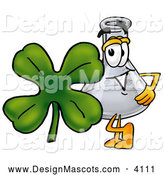 Stock Mascot Cartoon of a Glass Erlenmeyer Conical Laboratory Flask Beaker Mascot Cartoon Character with a Green Four Leaf Clover on St Paddy's or St Patricks Day by Toons4Biz