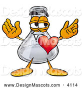 Stock Mascot Cartoon of a Glass Erlenmeyer Conical Laboratory Flask Beaker Mascot Cartoon Character with His Heart Beating out of His Chest by Toons4Biz