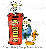 Stock Mascot Cartoon of a Globe Mascot and Dynamite by Toons4Biz