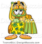 Stock Mascot Cartoon of a Gold Police Badge Mascot Cartoon Character in Green and Yellow Snorkel Gear by Toons4Biz