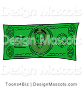 Stock Mascot Cartoon of a Golden Badge Mascot Cartoon Character Dollar Bill by Toons4Biz