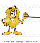 Stock Mascot Cartoon of a Golden Badge Mascot Cartoon Character Holding a Pointer Stick by Toons4Biz