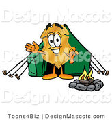 Stock Mascot Cartoon of a Golden Police Badge Mascot Cartoon Character Camping with a Tent and Fire by Toons4Biz