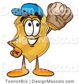 Stock Mascot Cartoon of a Golden Police Badge Mascot Cartoon Character Catching a Baseball with a Glove by Toons4Biz