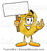 Stock Mascot Cartoon of a Golden Police Badge Mascot Cartoon Character Holding a Blank Sign by Toons4Biz