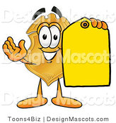 Stock Mascot Cartoon of a Golden Police Badge Mascot Cartoon Character Holding a Blank Yellow Price Tag for a Sale by Toons4Biz