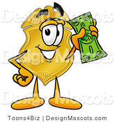 Stock Mascot Cartoon of a Golden Police Badge Mascot Cartoon Character Holding a Dollar Bill by Toons4Biz