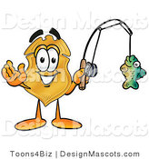 Stock Mascot Cartoon of a Golden Police Badge Mascot Cartoon Character Holding a Fish on a Fishing Pole by Toons4Biz