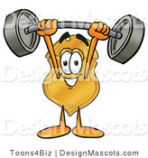 Stock Mascot Cartoon of a Golden Police Badge Mascot Cartoon Character Holding a Heavy Barbell Above His Head by Toons4Biz