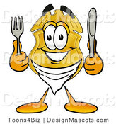 Stock Mascot Cartoon of a Golden Police Badge Mascot Cartoon Character Holding a Knife and Fork by Toons4Biz
