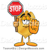 Stock Mascot Cartoon of a Golden Police Badge Mascot Cartoon Character Holding a Stop Sign by Toons4Biz