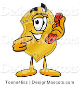 Stock Mascot Cartoon of a Golden Police Badge Mascot Cartoon Character Holding a Telephone by Toons4Biz