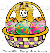Stock Mascot Cartoon of a Golden Police Badge Mascot Cartoon Character in an Easter Basket Full of Decorated Easter Eggs by Toons4Biz
